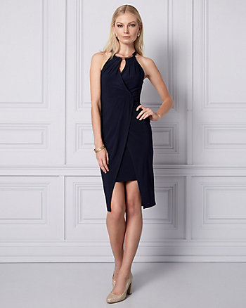 Knit Wrap-Like Halter Dress