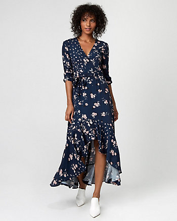 Floral Print High-Low Maxi Dress