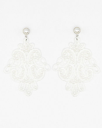 Pearl Embellished Lace Earrings