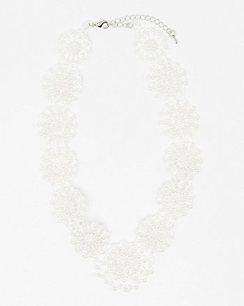Pearl Embellished Lace Bib Necklace