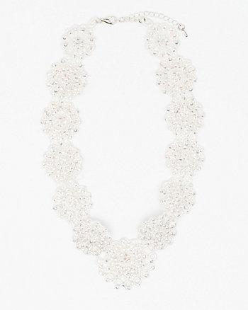 Jewel Embellished Lace Bib Necklace