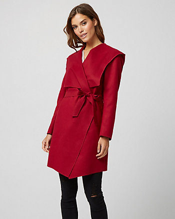 Cashmere-Like Hooded Wrap Coat