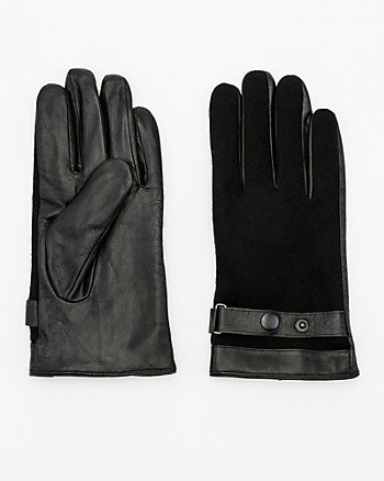 Leather & Wool Blend Gloves