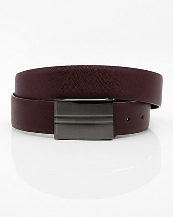 Reversible Faux Leather Plaque Belt