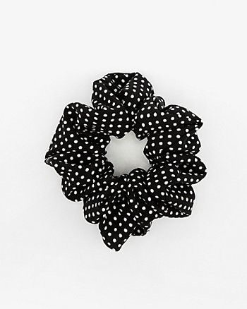 Polka Dot Print Pleated Scrunchie