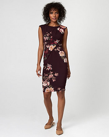 Floral Print Knit Crew Neck Sheath Dress