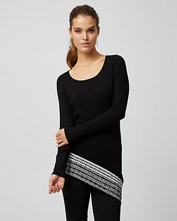 Jacquard Asymmetrical Tunic Sweater
