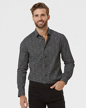 Geo Print Cotton Poplin Slim Fit Shirt