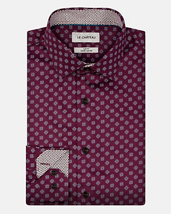 Geo Print Cotton Sateen Slim Fit Shirt