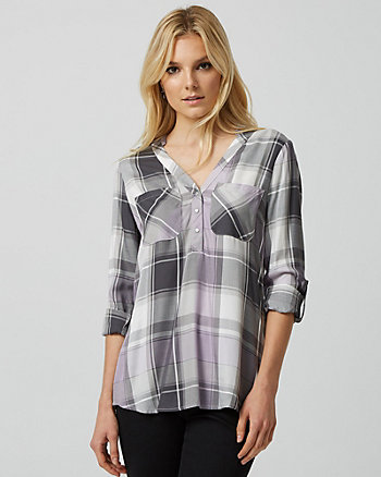 Check Print Viscose Henley Blouse