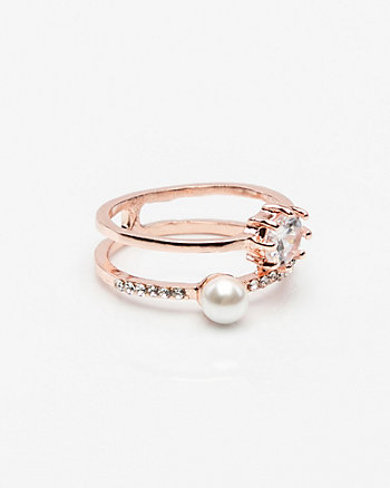 Gem & Pearl-Like Ring