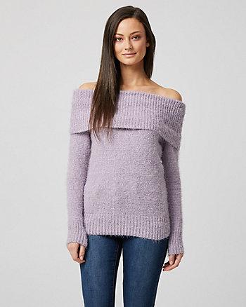 Chandail à épaules dénudées en tricot