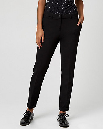 Ponte Knit Tapered Leg Trouser