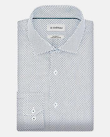 Chemise à motif en popeline de coton