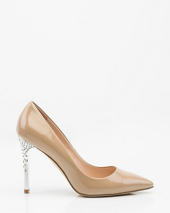 Jewel Embellished Patent Pointy Toe Pump