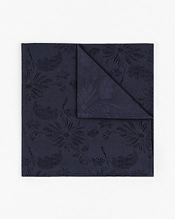 Tonal Floral Print Silk Pocket Square