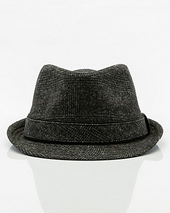 Check Print Wool Blend Fedora Hat