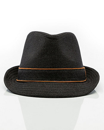 Two Tone Woven Fedora Hat