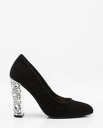 Jewel Embellished Block Heel Pump