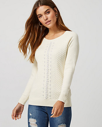 Lace-Up Detail Boat Neck Sweater