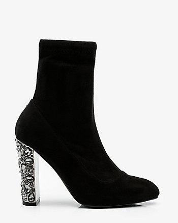 Jewel Embellished Block Heel Sock Boot