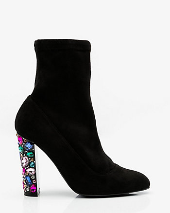 Jewel Embellished Block Heel Sock Boot