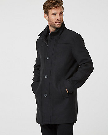Melton Wool Mock Neck Topcoat
