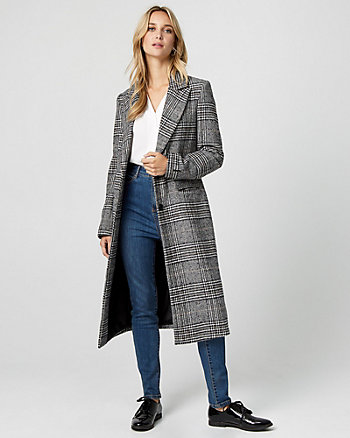 Glen Check Wool Blend Notch Collar Coat