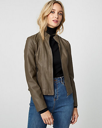 Ruched Leather-Like Motorcycle Jacket