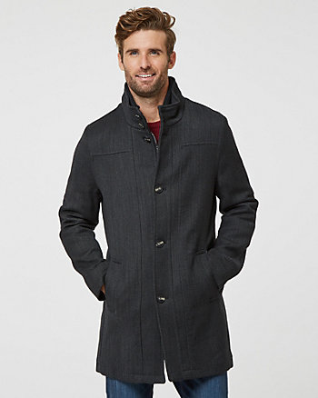 Tonal Wool Twill Funnel Neck Topcoat