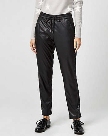 Leather-Like Drawstring Track Pant