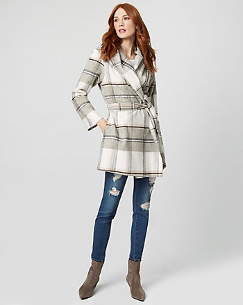 Check Print Wool Blend Wrap Coat