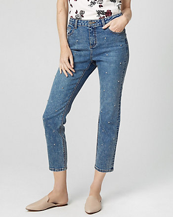 Gem Embellished Denim Straight Leg Pant