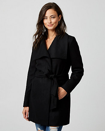 Melton Wool Blend Belted Coat