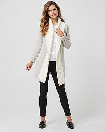 Wool Blend Colour Block Hooded Sweater Coat