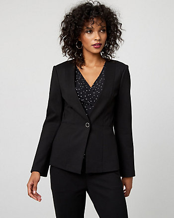 Ponte Knit Button-Front Blazer