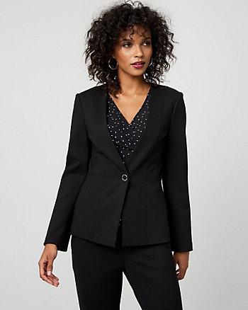 Ponte Knit Button-Front Blazer