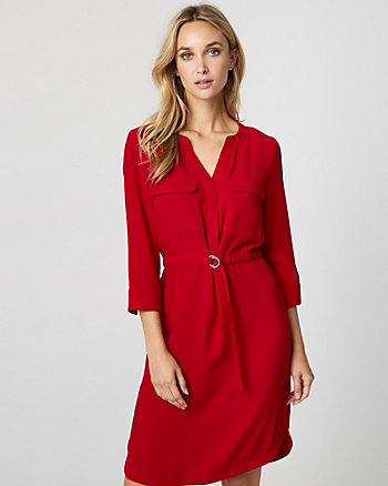 Belted V-Neck Shirtdress
