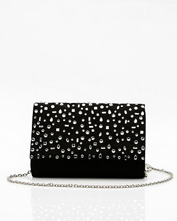 Jewel Embellished Flap over Clutch
