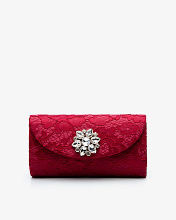 Brooch Embellished Lace Flapover Clutch