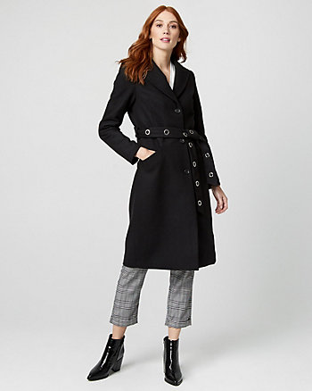 Wool Blend Melton Belted Coat