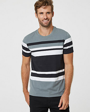 Stripe Cotton Blend  Slim Fit Crew Neck T-Shirt