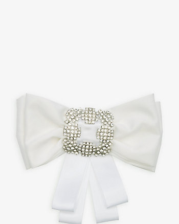 Jewel Embellished Satin Bow Pin