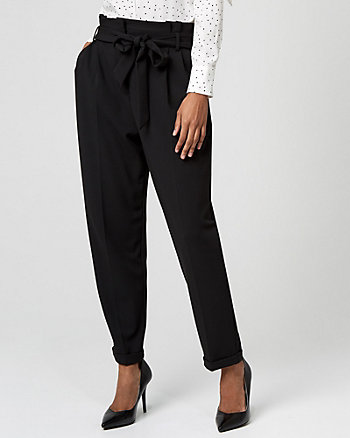Pleated Knit Crêpe Paper Bag Pant