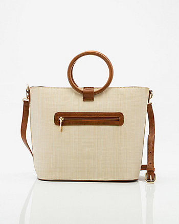 Straw Top Handle Tote Bag