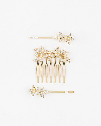 Floral Gem Hair Comb & Bobby Pins