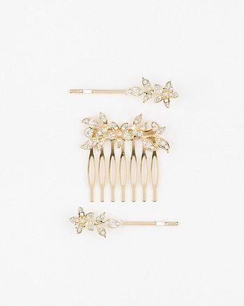 Floral Gem Hair Comb & Bobby Pins