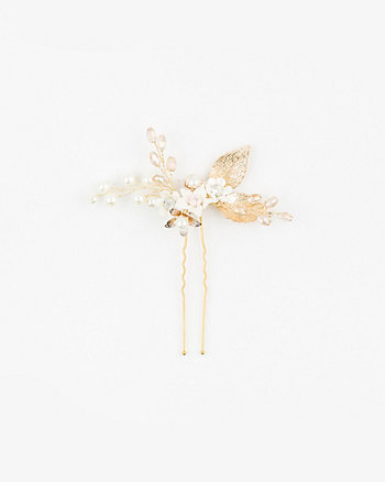 Floral Gem & Pearl-like Bobby Pin
