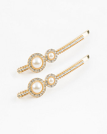 Set of Two Gem & Pearl-like Bobby Pins