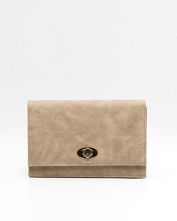 Snake Embossed Flapover Clutch